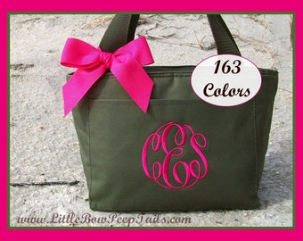 Monogrammed Lunch Bag Cooler - School Personalized Lunch Box Triple Initials Insulated teacher lunch bag lunch tote lunchbox kids childrens