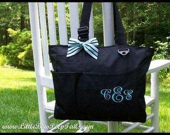 Monogrammed Super Feature Tote - Personalized Solid Color Book Bag Bridesmaids Teachers Travel Briefcase Initials Diaper Bag