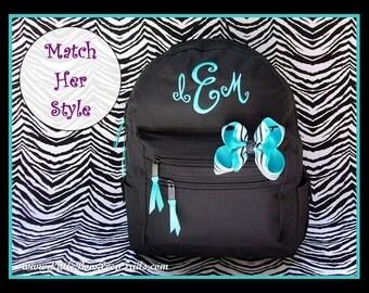 Monogrammed Backpack - Personalized Solid Color Aqua Blue Lime Green Black School Tween Girls Back Pack Book Bag kids childrens Boys