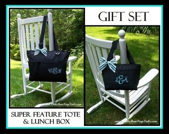 Teacher Gift SET, Personalized Organizer Tote and Lunch Bag, Personalized Teachers Briefcase, Monogrammed Tote and Lunch Cooler