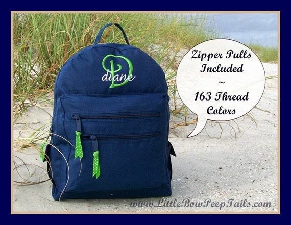 Initial and Name Monogrammed Backpack - Personalized Solid Color Hot Pink Navy Green School Girls Back Pack Book Bag kids childrens