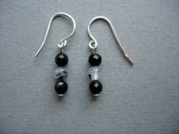 Petite Onyx and Quartz Sterling Silver Earrings