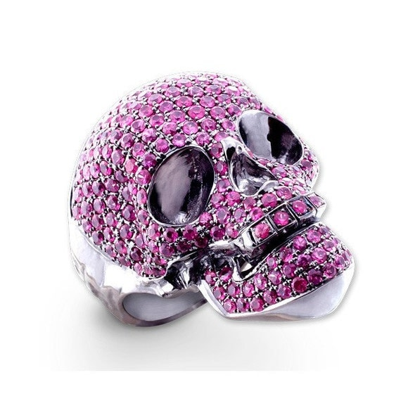 Pink Sapphire, Sweet & Spooky Skull shape on silver ring