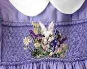 Hand Smocked, Hand Embroidered Girls  Dress, Size 4L/Lavender Blue
