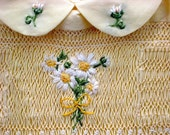 Smocked Girls  Dress, Size 1/ Hand Smocked, Hand Embroidered / Yellow Daisy Bouquet