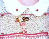 Girls Smocked Dress Size 2/ Hand Smocked Hand Embroidered / Rabbit Rides a Hobby Horse