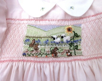 Smocked Girls  Dress Size 2/ Hand Smocked Hand Embroidered/ Mr. Mc Greggors Garden
