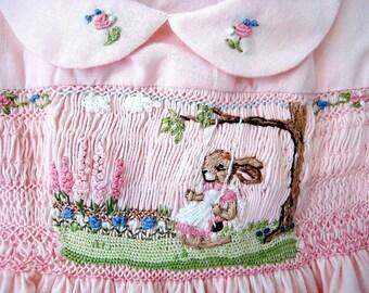 Girls  Smocked Dress Size 3 / Handsmocked, Hand-Embroidered/ Sunshine & Flowers/