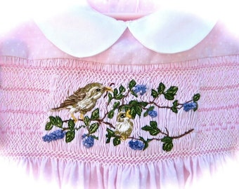Hand Smocked Hand Embroidered Girls Dress  Size 4/ Lavender Blue And Birds Too