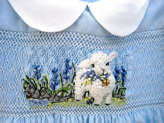 Hand Smocked, Hand Embroidered Girls  Dress, Size 1/I Am A Lamb/Reserved for Debbie