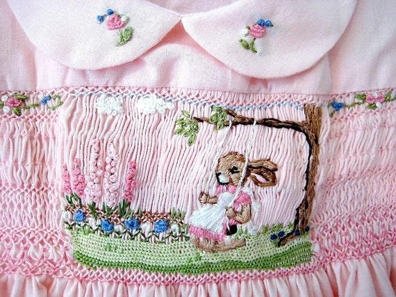 Reserved for Elayna/ Girls  Smocked Dress Size 3 / Handsmocked, Hand-Embroidered/ Sunshine & Flowers/