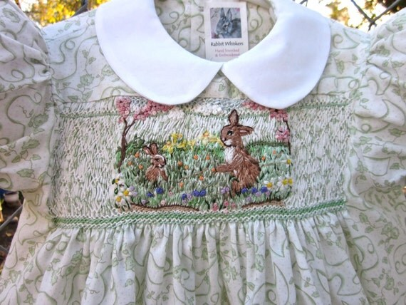 Hand Smocked Hand Embroidered Girls  Dress, Size 1/ Spring- A Meadow's Song In Pastel Tones of Bunnies & Flowers