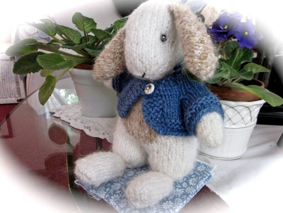 Hand Knit Mohair Lop Bunny Doll/ Tulip, Irresistibly Adorable