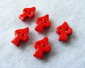 Red Spades - Poker Face - Blythe and Pullip Doll Sized - Miniature Polymer Clay Buttons (5)