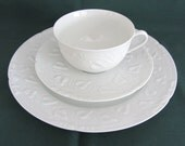 Three Piece CH. Field Haviland Teacup, Saucer and Lunch Plate Set, Imperatrice Pattern. Limoge, France