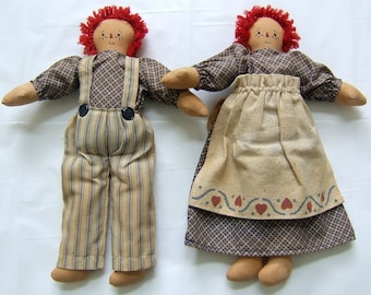 Vintage Antique Handmade Raggedy Ann and Andy