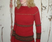 Icelandic wool red long sleeve sweater s\/mRESERVED