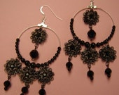 MIDNIGHT LACE - Black Filigree and Crystal Earrings by Senza Fine