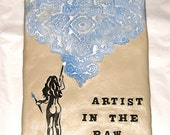 Paper Clay Tile Sign - Naked Woman, Painter - Artist In The Raw