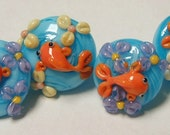 40 percent off- Koi and Flowers pastel colors Handmade Lampwork Glass Buttons 15mm- Free Shipping Etsy