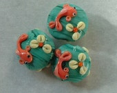 Lampwork beads with koi fish, tiny size 10mm perfect for earrings- Free Shipping Etsy- 3 beads for 30