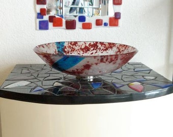 Glass vessel sink-Unique fused glass design