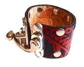 Leather Cuff with Unique Swing Clasp - Printed with Gears and Cogs Design