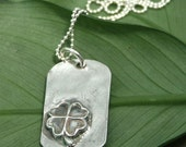 Lucky - Fine Silver Dog Tag Necklace - Four Leaf Clover - Unisex