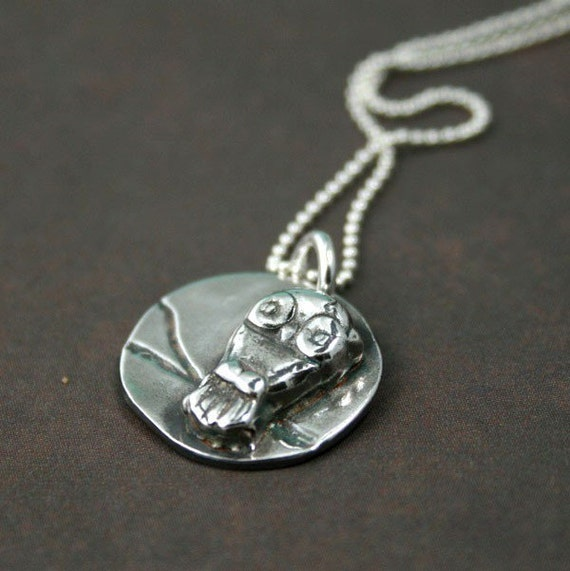 Goodnight Owl - Fine Silver Pendant Necklace