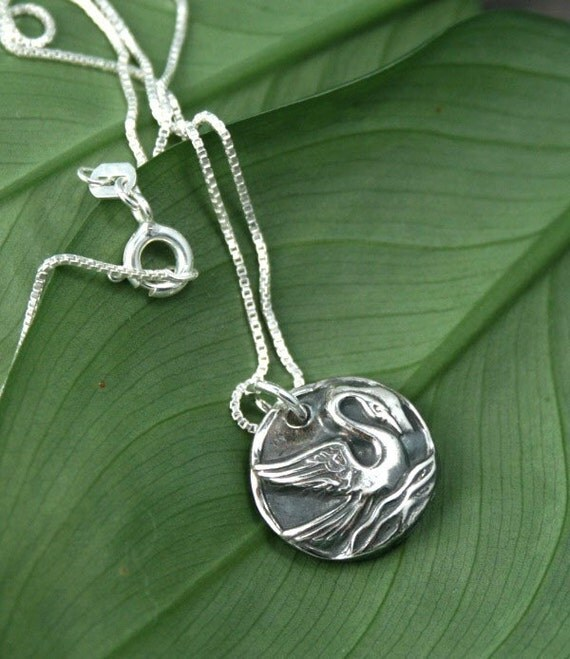 The Swan and the Beauty Within - Fine Silver Pendant Necklace