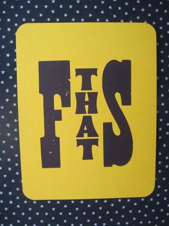 f that s letterpress printed postcard
