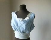 Nautical Blue Crop Shirt Linen Tattered Bohemian Beach Shabby Chic Loose Cropper Top Boho Eco Friendly Summer