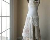 RESERVED Bella Wedding Gown Fantasy Cream Drop Waist Tattered Ballgown Alternative Wedding Dress Wispy Boho Gatsby Shabby Chic Roses