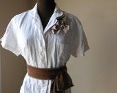 Boho Linen Shirt Jacket Office Fashion Mocha Tattered Shabby Chic Rustic Natural Bespoke Fashion