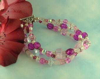Pretty in Pink Three Strand Bracelet B16