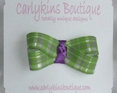 Carlykins Boutique Baby Girl Green and Purple Plaid Hair Bow Snap Clips 0-12 months, toddler, 2T, 3T, 4T, 5T