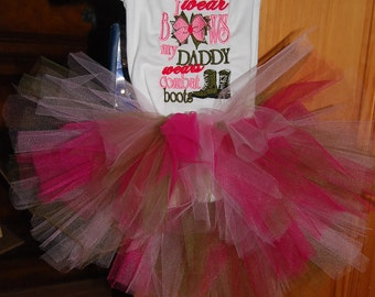 I Wear Bows My Daddy Wears Combat Boots Bodysuit bodysuit T-shirt Tutu Embroidered Newborn to 5T Army Military Navy