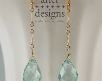 Blue Topaz Earrings  and Gold Chain Earrings by Alter Designs Something Blue Wedding Jewelry