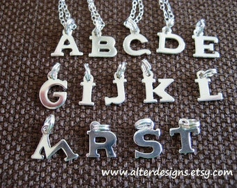 Bridesmaids Tiny Sterling Silver Initial Letter Charm Necklace Personalized initial Necklace a,b,c,d,e,g,i,j,k,l,m,r,s,t