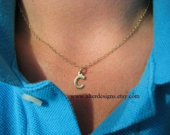 Tiny Initial Necklace, Initial Charm Necklace,Bridesmaid Gifts, Wedding Jewelry, First Communion, Letter Initial, Name Necklace, BFF Gift
