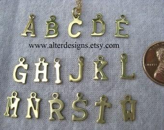 Tiny Initial Necklace Tiny Charm - Teensy Initial Letter Necklace - Little - Alphabet Letter Initial A,B,C,D,E,G,H,I,J,K,L,M,N,R,S,T,W