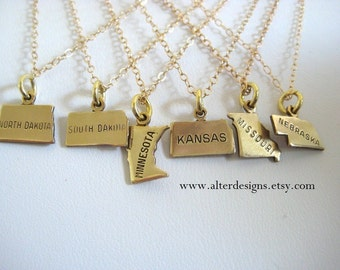 Missouri Necklace, Nebraska Necklace, Kansas Necklace,Minnesota, Missouri, South Dakota, North Dakota  Gold or Silver - America