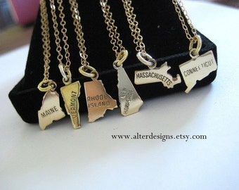 Eight State Necklace 8 state charms on one Necklace - Gold or Silver State Charms -  Seven State Charms on one necklace