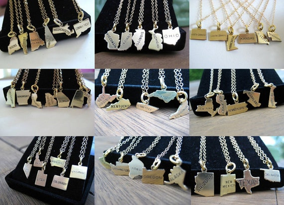 Small State Necklace - Moving Away - Going Away Gift - Long Distance Best Friend - Far Away Friends - Bridesmaid Gift - Graduation Gift
