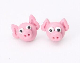 Piggy heads on sterling silver post stud earrings