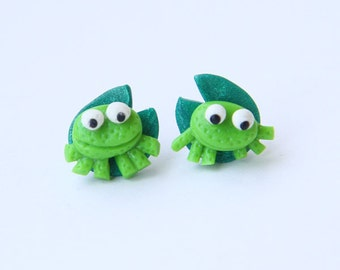 Froggies on Lily Pads - post earrings
