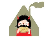 Pizza Monster - digital art print for hungry mouths and sneaky night-time fridge fetishists!