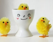 Custom hand-painted happy egg cup - personalised with handwritten name
