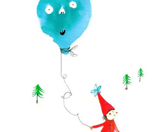 Scandinavian winter art print. Elf in the snow with balloon pet. Cute kids room nursery decor and wall art.