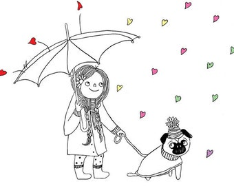 Girl with pug walking in rain - illustration print for nursery. Wall art gift for dog lovers, animal lovers, & pug lovers!